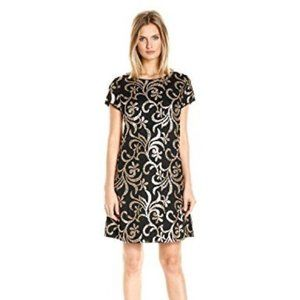 Jessica Simpson Black and Gold Sequin Shift Dress